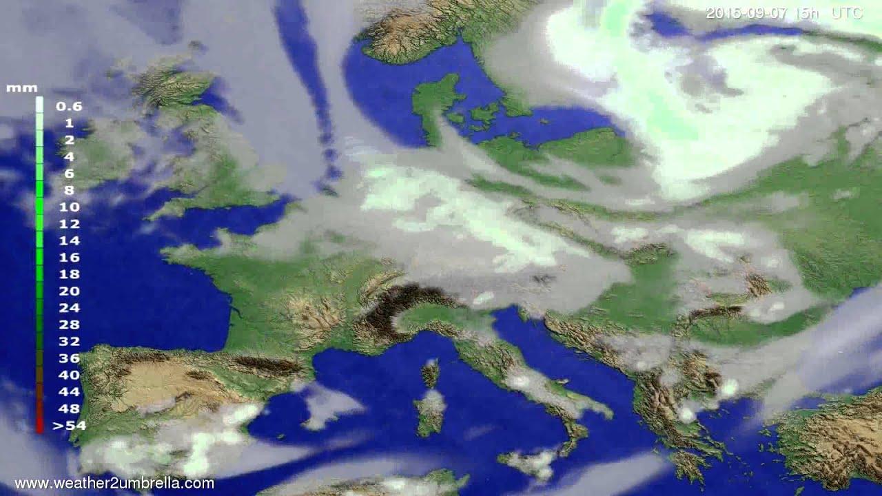 Precipitation forecast Europe 2015-09-03