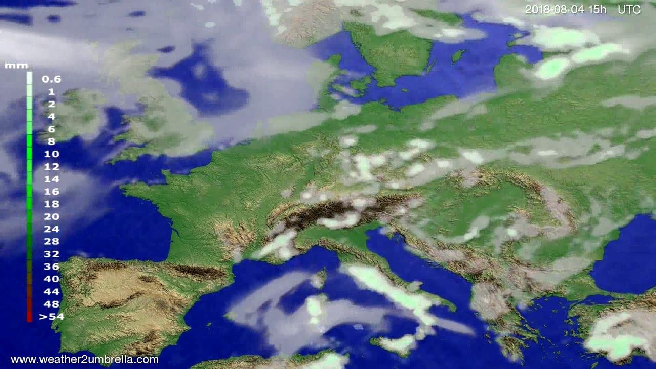 Precipitation forecast Europe 2018-08-02