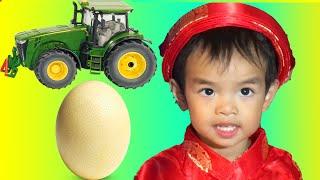 3. Surprise Egg Opening John Deere Tractor, Monster Jam Truck, and Talking Dog