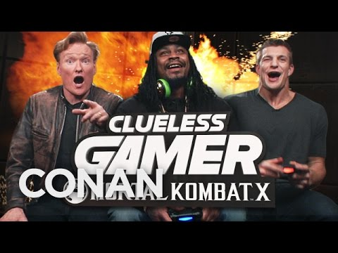 Conan O'Brien, Marshawn Lynch and Rob Gronkowski play Mortal Kombat X