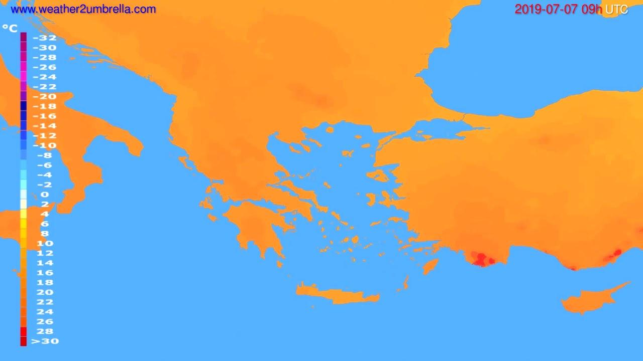 Temperature forecast Greece // modelrun: 12h UTC 2019-07-05