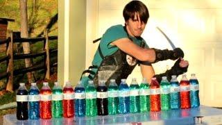 Video Katana Vs Plastic Water Bottles - Slow Motion MP3, 3GP, MP4, WEBM, AVI, FLV Agustus 2018