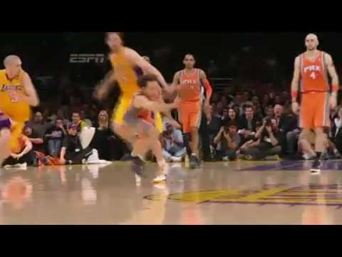 Steve Nash steal to Markieff Morris for a slam dunk vs. Lakers February 17 2012