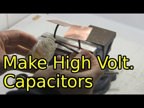 Capacitors - How to make DIY high voltage capacitors. I start by showing a few different high voltage capacitors I've made over the years followed by an explanation of ho...