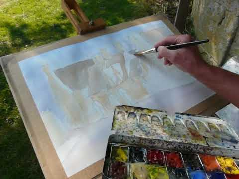 How to paint a Cotswold village using watercolour. Painted plein air.