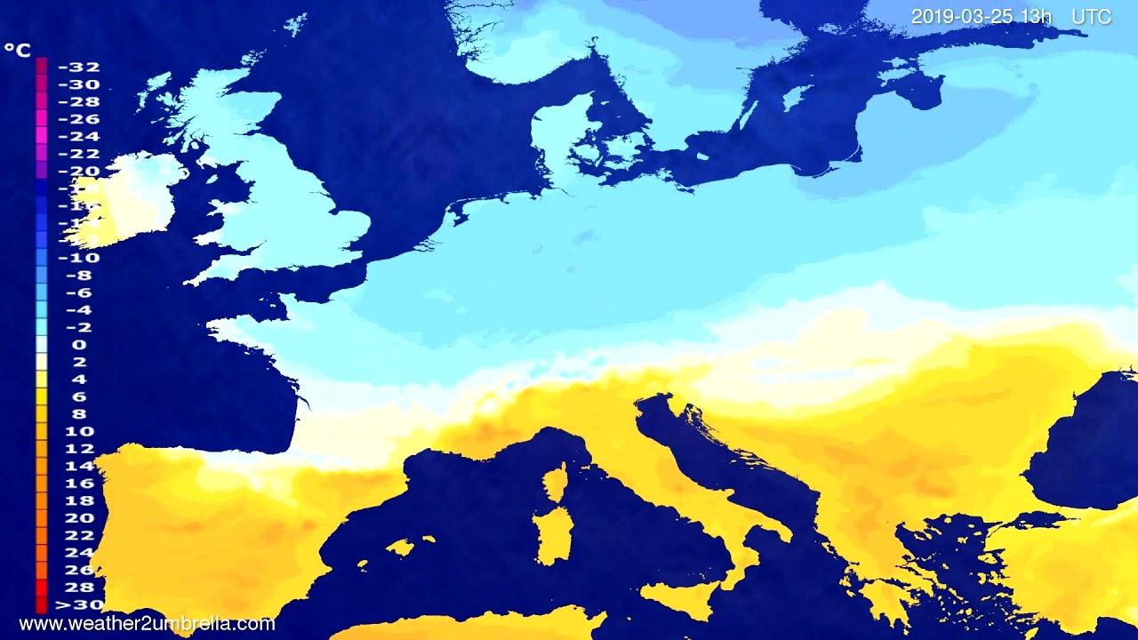 Temperature forecast Europe 2019-03-25