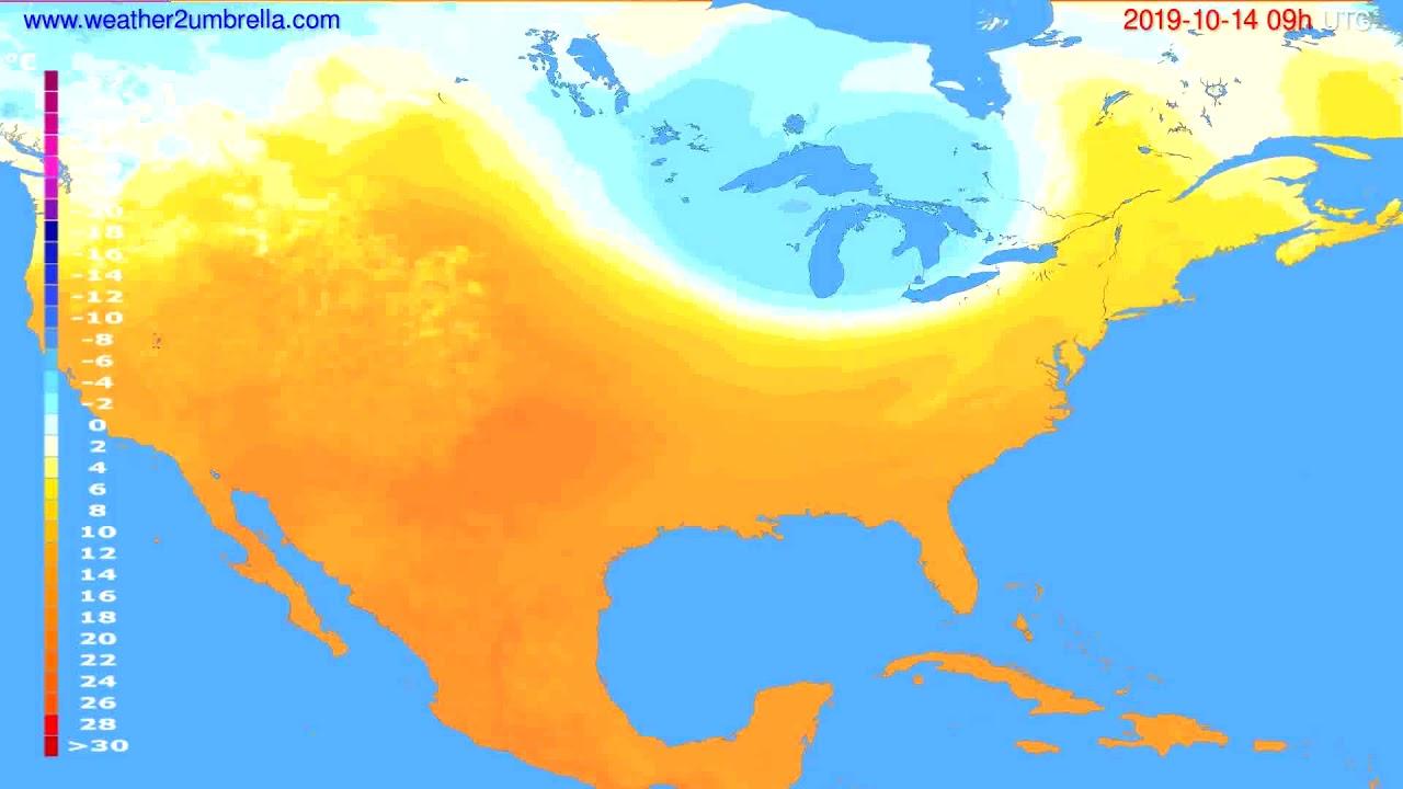 Temperature forecast USA & Canada // modelrun: 12h UTC 2019-10-12