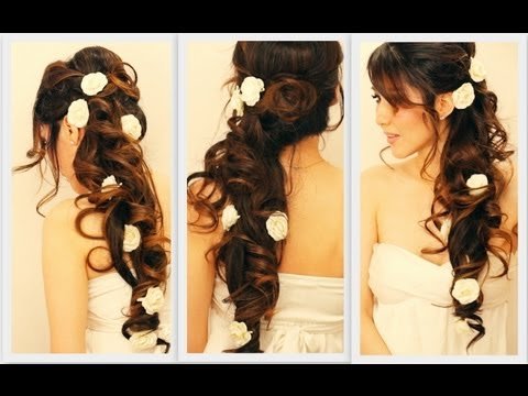 ★ ELEGANT SIDE-SWEPT CURLS WEDDING HAIRSTYLES TUTORIAL | CURLY BRIDAL UPDO FOR LONG HAIR GIVEAWAY