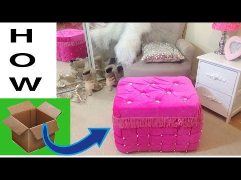 Never waste cardboard after watching it.Real furniture ottoman from cardboard