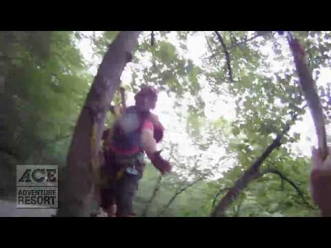 Zip Line Through The Trees at ACE Adventure Resort: Helmet Cam View