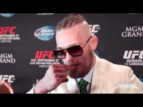 Conor - After the UFC 178 post-fight press conference, Conor McGregor talks about his clothes, his win against Dustin Poirier, his support, if he thought about pulling out of the fight with his thumb...