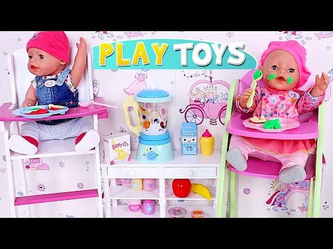 Baby Born Doll Twins Dressing and Feeding in Cute Nursery Bed Room!