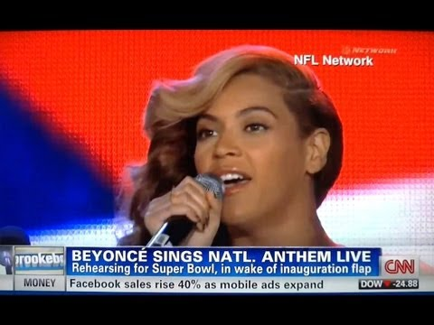 Beyoncé Sings National Anthem Live at Press Conference & Admits Lip Syncing