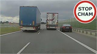Kierowca BMW pędzi pasem awaryjnym, a później hamuje przed TIRem