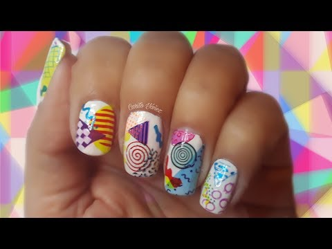 Diseños de uñas - #BornPrttyStore Diseño de uñas ochentas multicolores placa capas Geometry L001