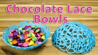Making Chocolate Lace Bowls: Bowls Made of Chocolate by Cookies Cupcakes and Cardio - YouTube