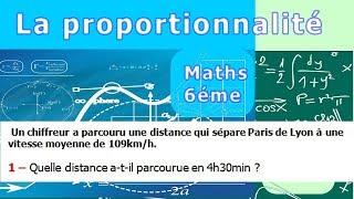 Maths 6ème - La proportionnalité la vitesse moyenne Exercice 4