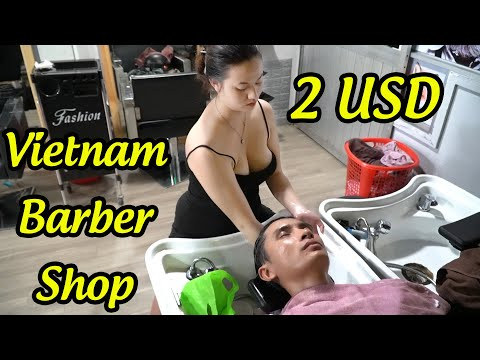 Vietnam Barber Shop ASMR Massage Face - Shave - Wash Hair with Beautiful Girl