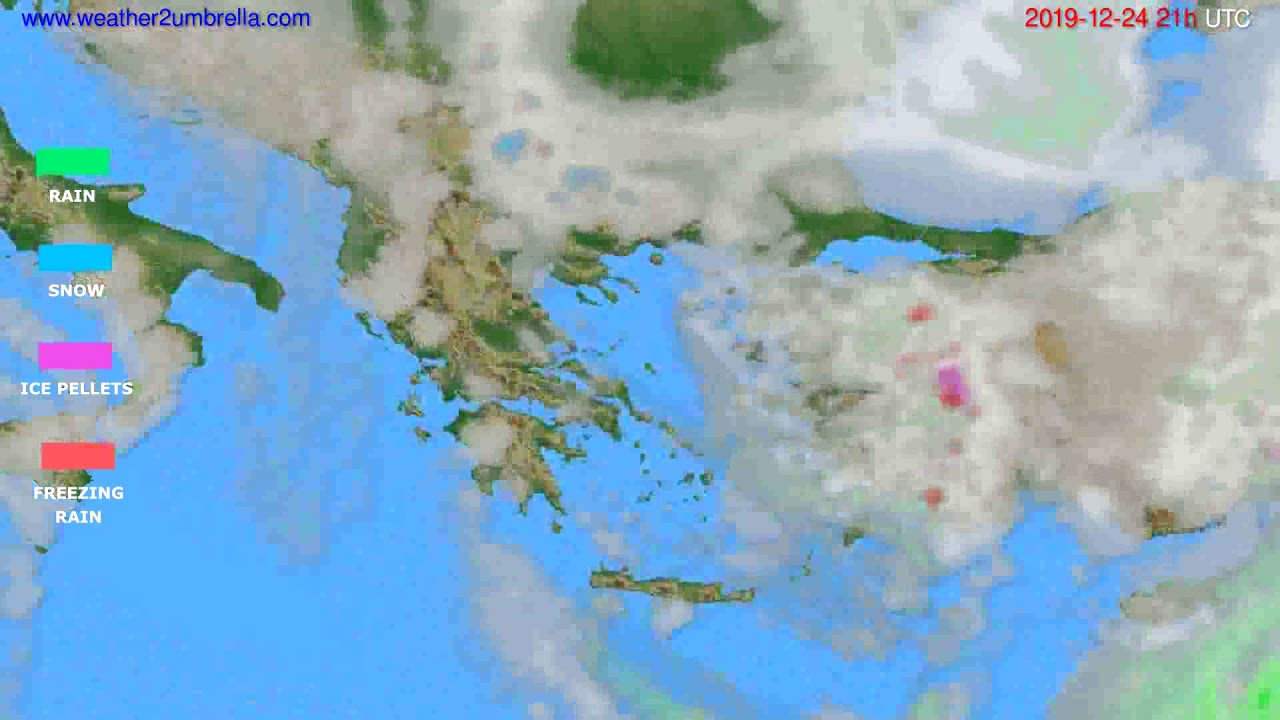 Precipitation forecast Greece // modelrun: 12h UTC 2019-12-23