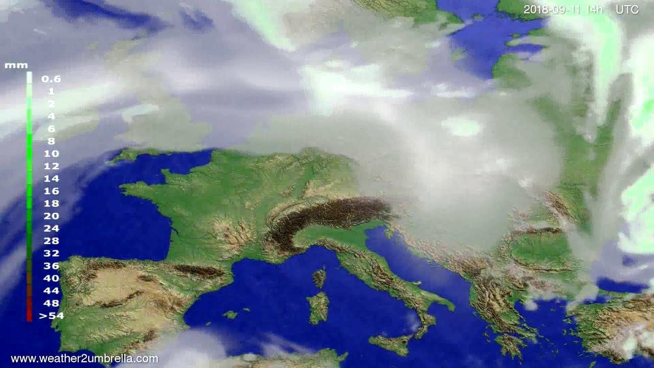 Precipitation forecast Europe 2018-09-07
