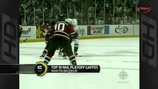 Top 10 gaffes from the NHL playoffs.