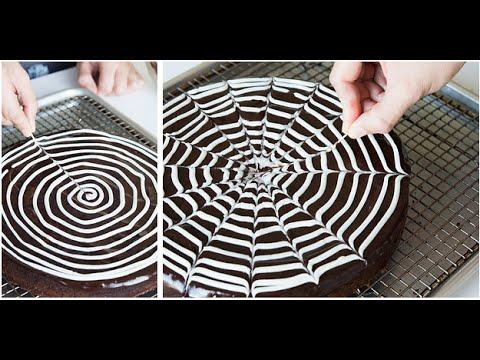 how to make Spiderweb Brownie Cake