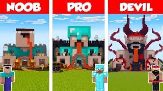 Minecraft NOOB vs PRO vs DEVIL: HORROR HOUSE BUILD CHALLENGE in Minecraft / Animation