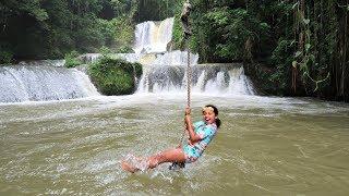 WATERFALL ROPE SWING - Kids Family Fun In Jamaica!