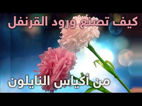 كيف تصنع زهرة قرنفل جميلة من اكياس النايلون how to make a beautiful flower from nylon bags