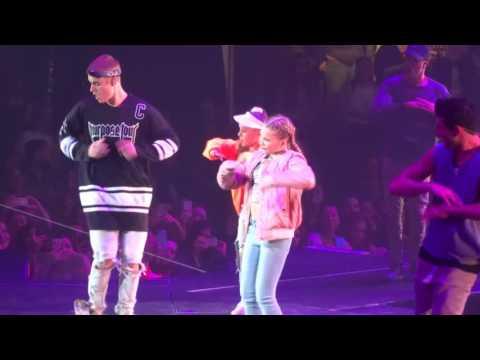 Justin Bieber with dancers Kiliane & Mae-Lee - Children Live Ottawa,ON