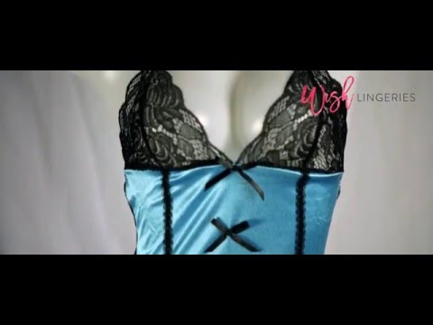 AnnaMu - Sapphire Blue Satin Black Lace 4-piece Camisole & Garter Set
