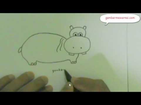 belajar menggambar kartun kudanil