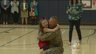 A little girl got quite the surprise when she was reunited today with her dad, who is in the military; KDKA's Dave Crawley reports. FULL STORY: http://cbsloc...