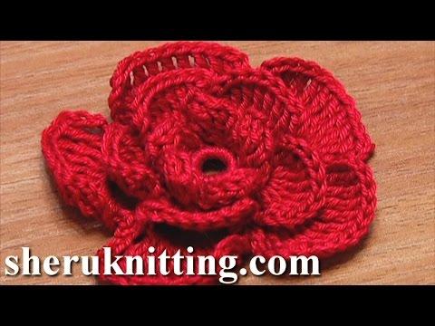 Crochet Rose Flower Tutorial 20 かぎ針編みローズフラワー