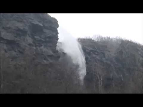 Wind Blows Waterfall UP the Mountain