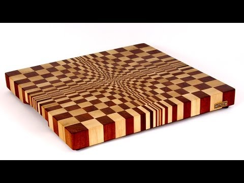 Making a 3D end grain cutting board №1 (Изготовление 3D торцевой разделочной доски №1)