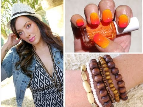 MakeupGeekTV - More info:http://www.makeupgeek.com/tutorials/beachy-girl-makeup-and-hair-with-sunset-nails/ http://simplymarlena.com/fashion/beachy-girl-outfit-and-sunset-n...