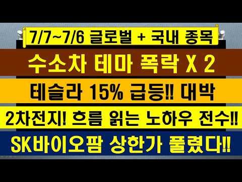 """[글로벌 + 국내 증시] 7월7일~7월6일 """"살펴보기"""", 테슬라 15%급등, 수소차 추가 -15%급락, SK바이오팜 상한가 매도 잔량 나옴 , 삼성전자, 2차전지 전략,디피씨"""