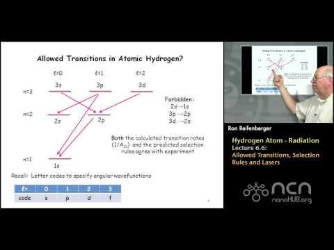 Purdue PHYS 342: Modern Physics L6.6: Hydrogen Atom: Allowed Transitions, Selection Rules and Lasers