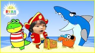 RYAN PIRATE ADVENTURE CARTOON for children! Treasure Hunt with Shark Animation for Kids