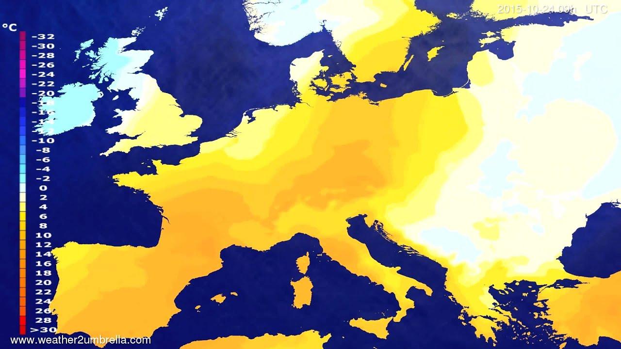 Temperature forecast Europe 2015-10-20