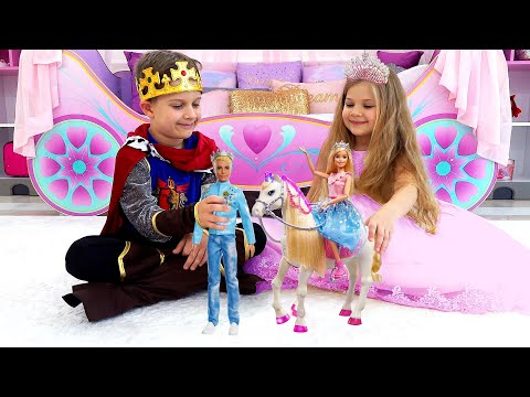 Diana and Roma play with Barbie Toys from Barbie Princess Adventure