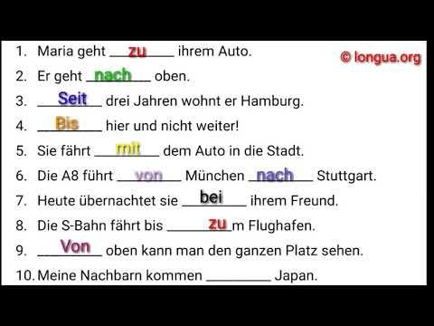 A1, A2, B1 Übungen - Deutsch lernen - Präpositionen mit Akkusativ oder Dativ? Wechselpräpositionen (видео)