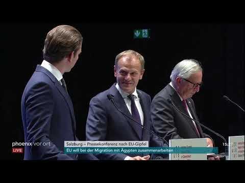 Pressekonferenz von Kurz, Tusk und Juncker nach dem E ...