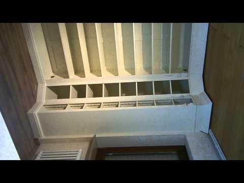 Bücherwand, Bücherschrank, Landhausstil Massivholz U Form Weiss
