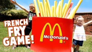 GIANT McDonald's Happy Meal French Fries Challenge! DIY Backyard Game & Family Fun by KIDCITY