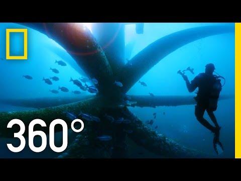 360° Duiken onder verouderde olieplatforms