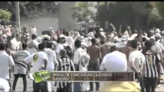 Briga de torcidas organizadas do Santos Futebol Clube e do São Paulo Futebol Clube antes do clássico de 18/03/12, do lado de...