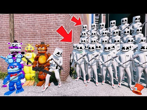 CAN THE ANIMATRONICS & MARSHMELLO DEFEAT THE EVIL MARSHMELLO ARMY? (GTA 5 Mods FNAF RedHatter)