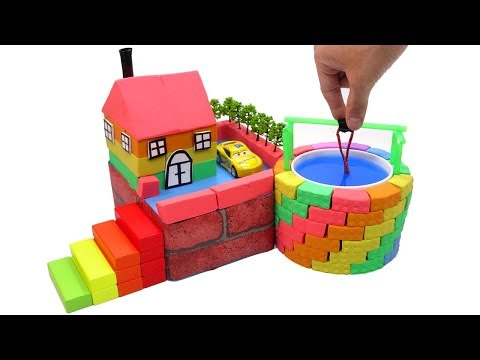 DIY How To Make Wells Villa with Shape It Sand, Car Toys and Learn Colors